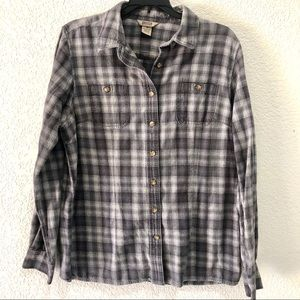 Duluth trading plaid long sleeve button down top M